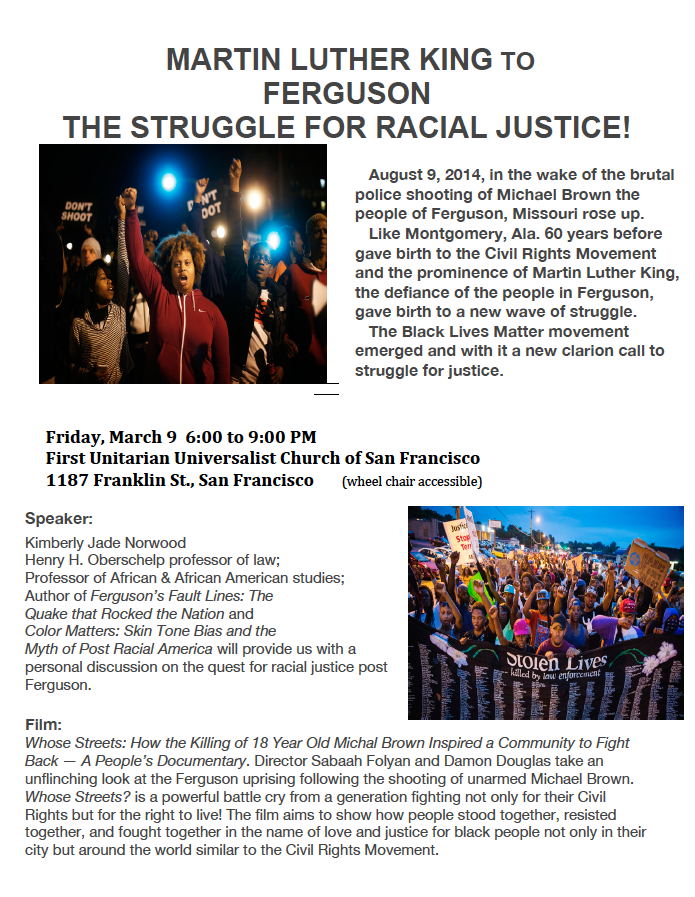 The Struggle for Racial Justice @ First Unitarian Church of San Francisco | San Francisco | California | United States