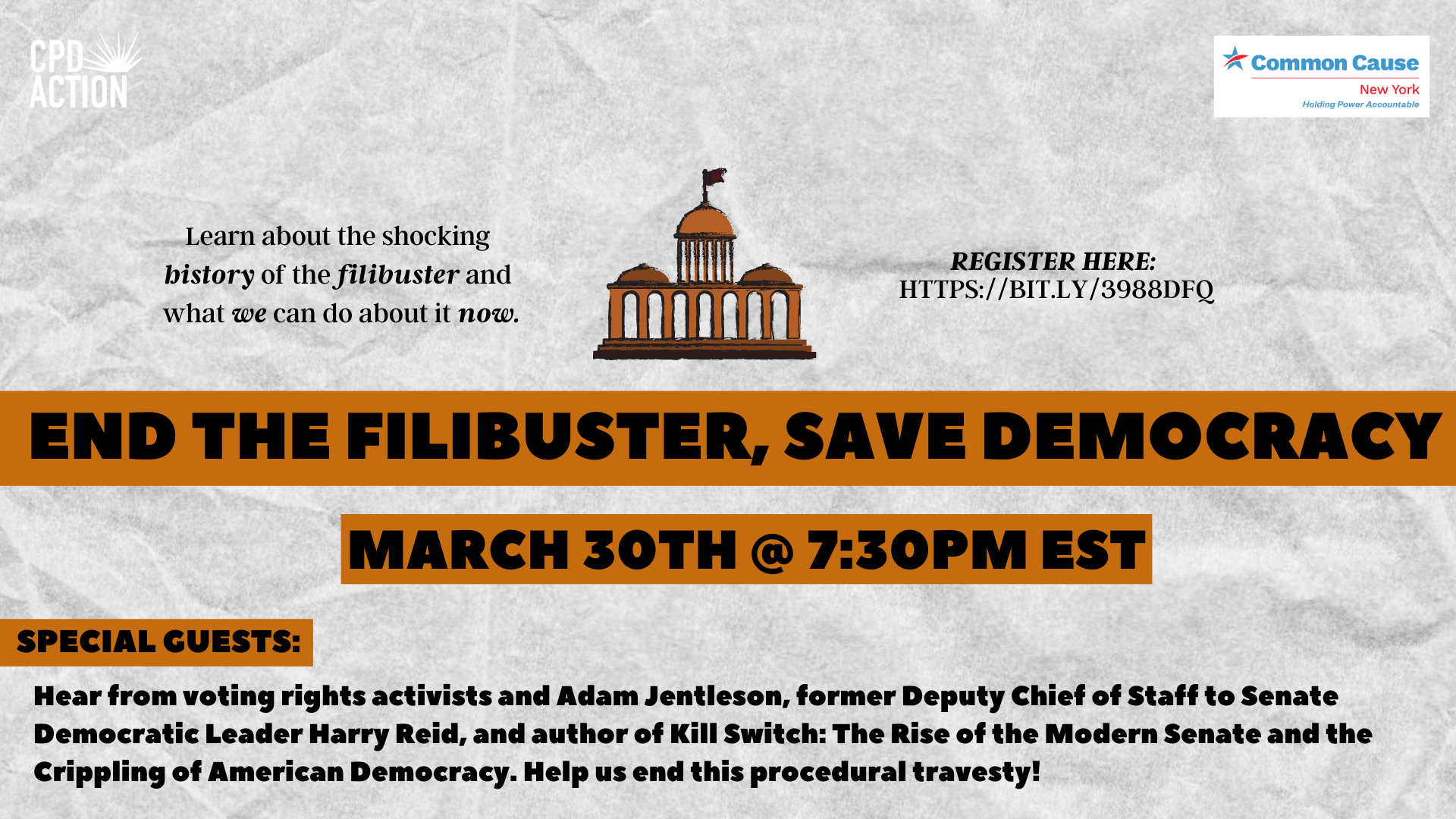 End the Filibuster, Save Democracy @ Register