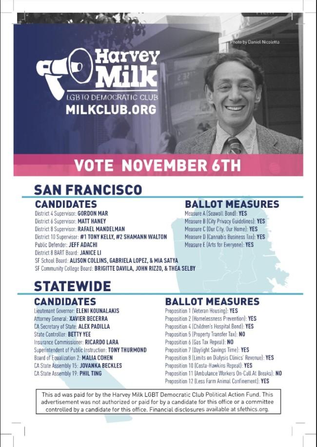 Harvey Milk LGBTQ Democratic Club endorsements